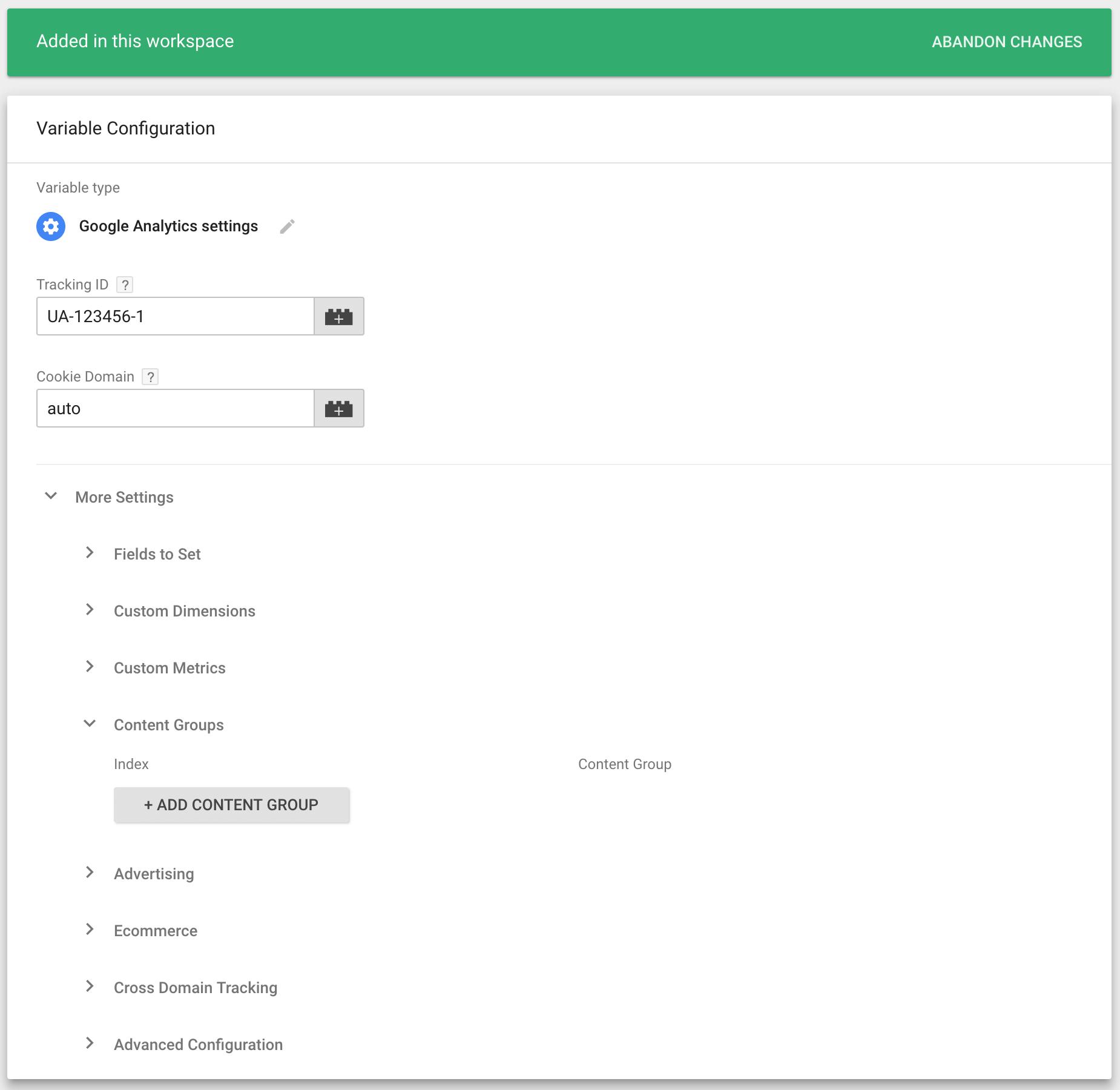 在Google跟踪代码管理器中添加内容分组