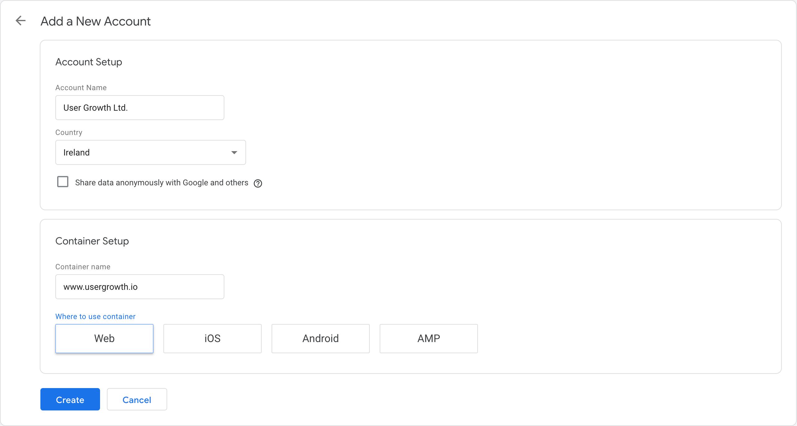 创建Google跟踪代码管理器帐户的步骤1:帐户和容器的设置